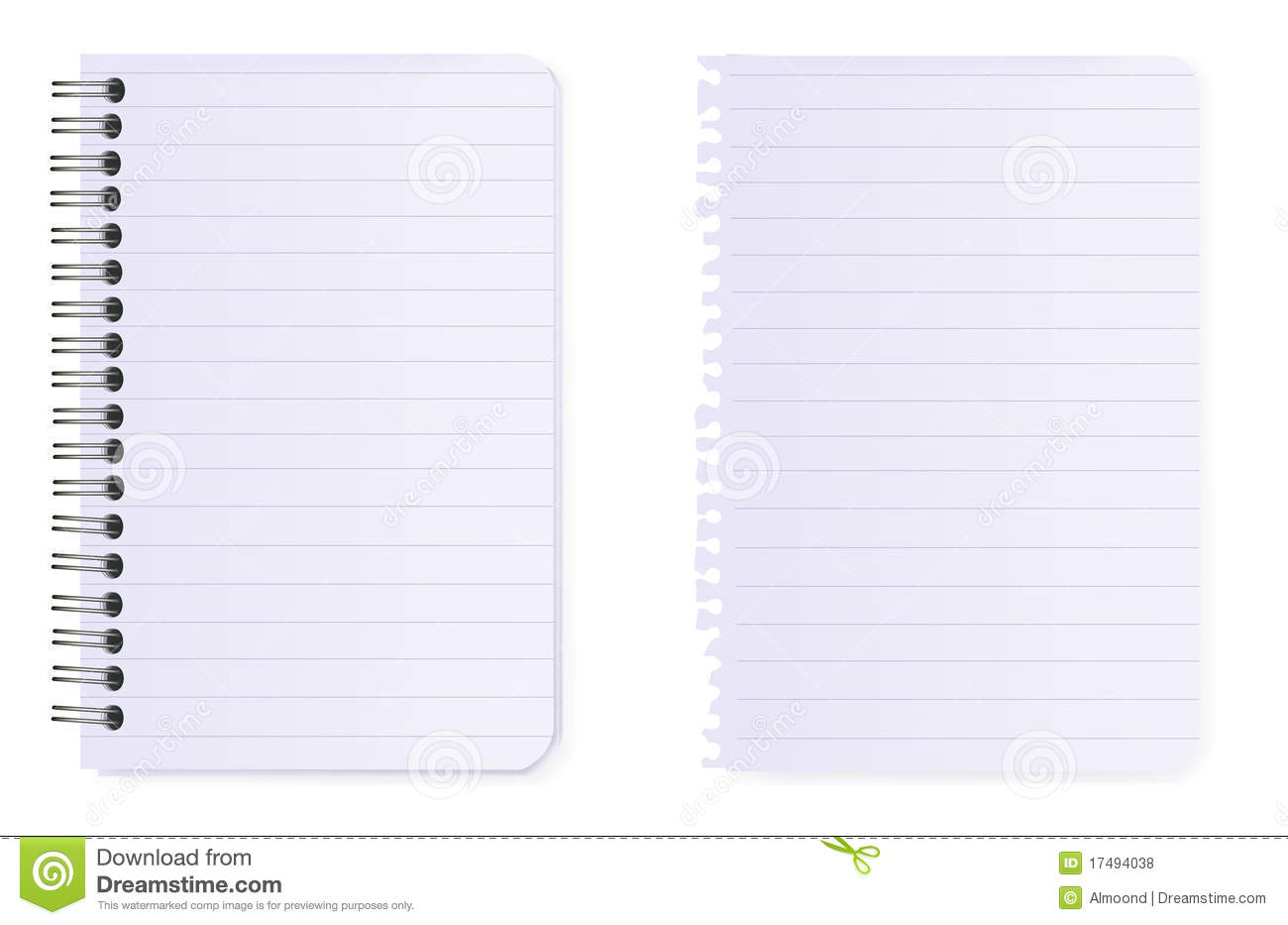 Spiral Notebook And Note Paper. Vector. Royalty Free Stock ...