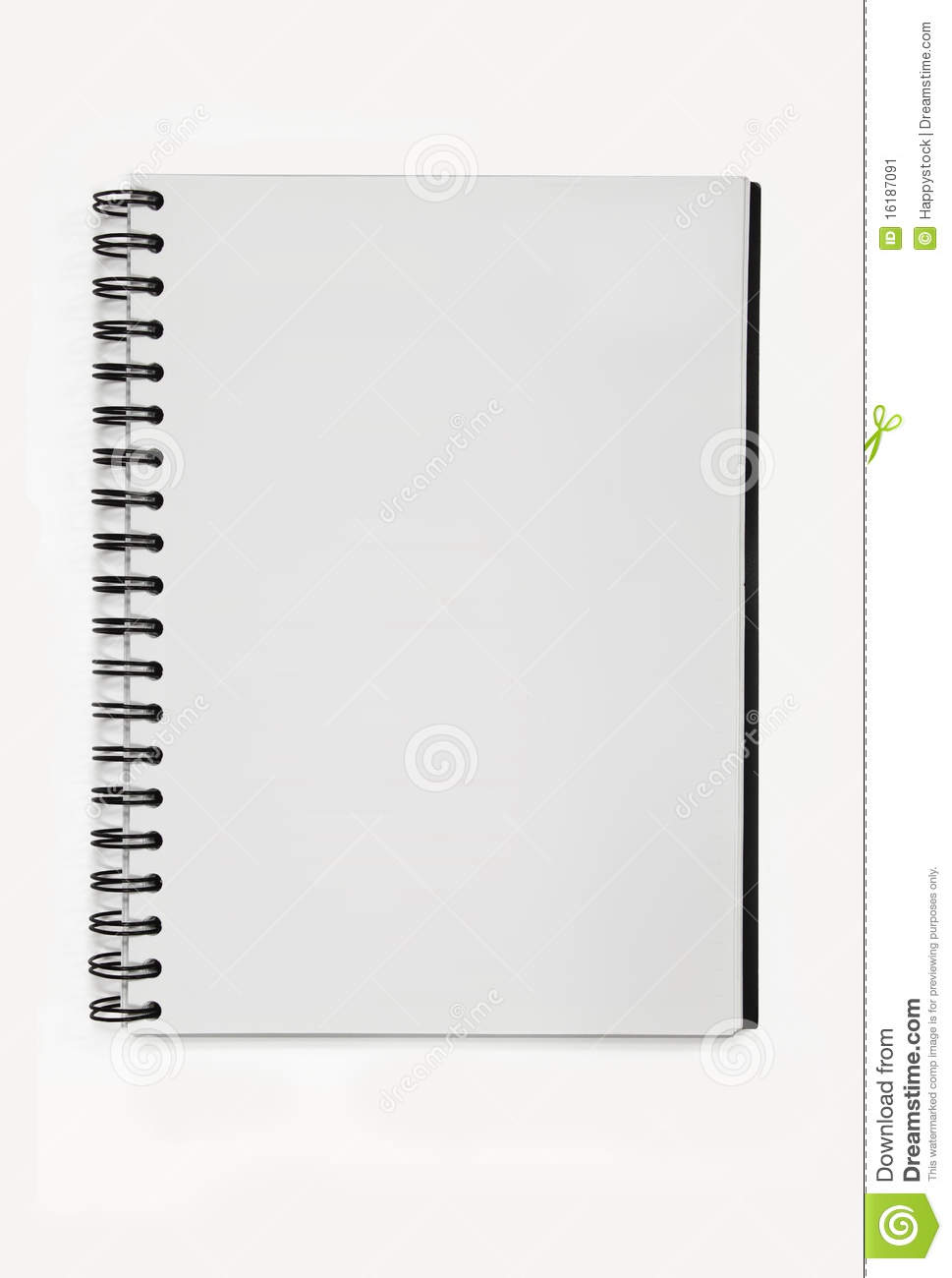 spiral notebook paper without line stock image - image of clean