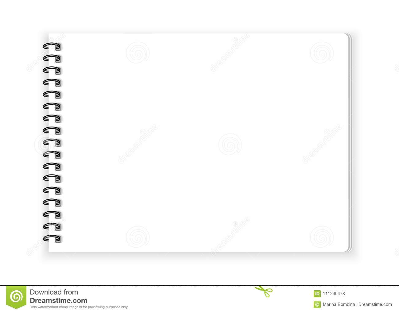 spiral notebook paper on white background vector stock vector