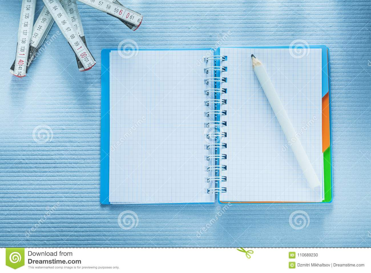 Spiral Notepad Pencil Measuring Tape Construction Concept Stock Diagram