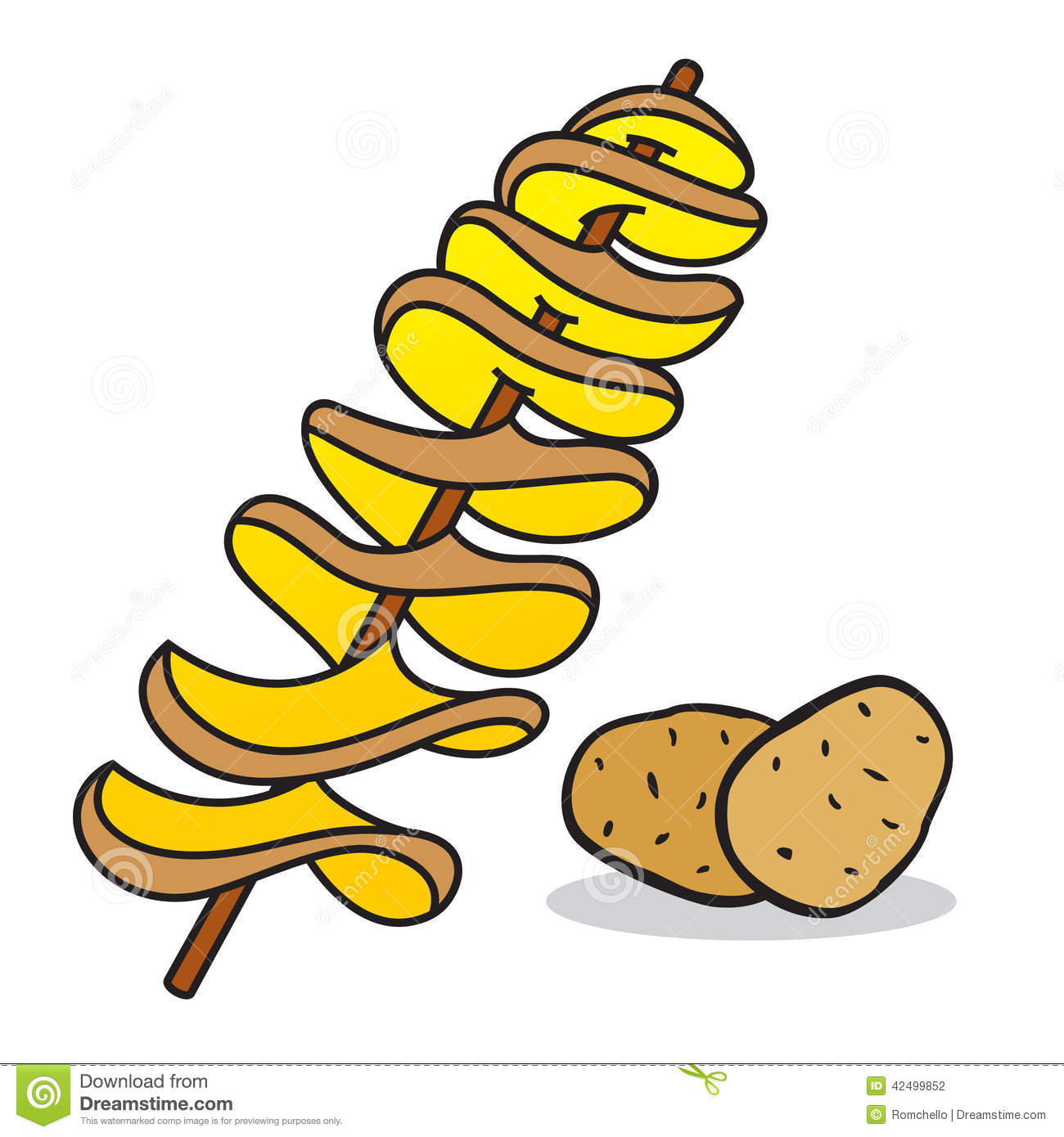 spiral potato stock illustration image 42499852 french fry clipart transparent Template French Fry