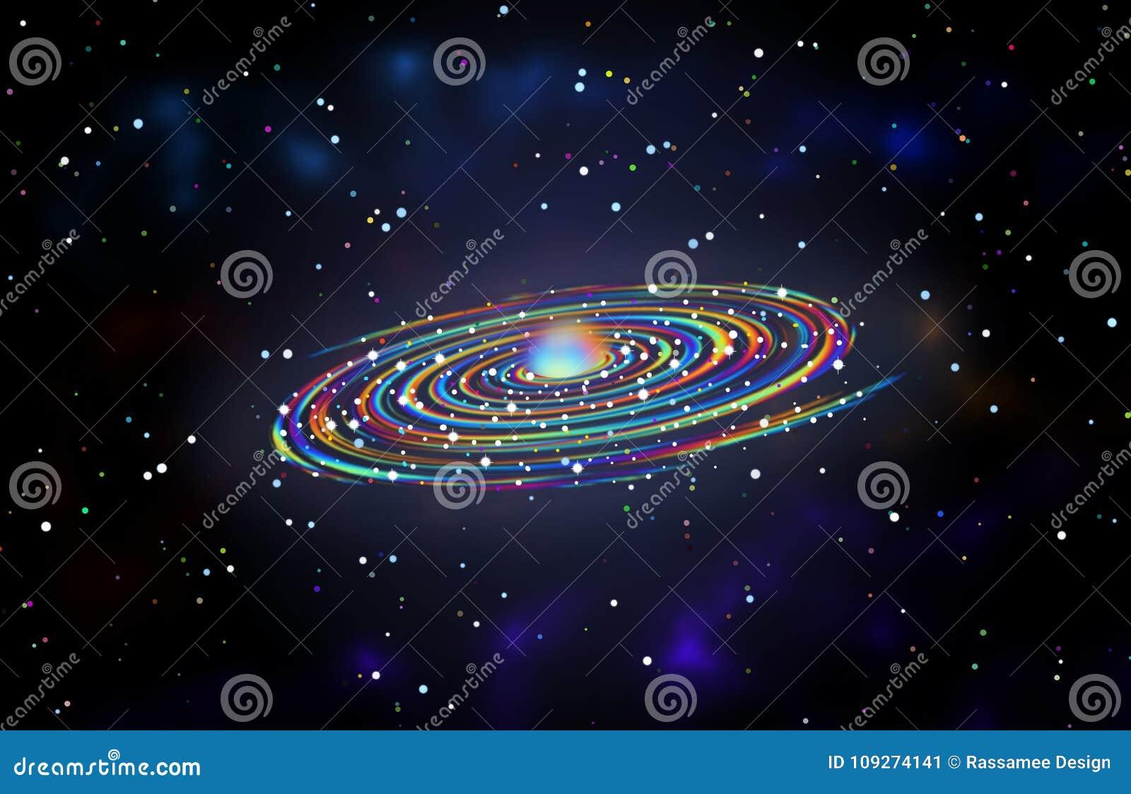 spiral rainbow galaxy theme graphic design background stock