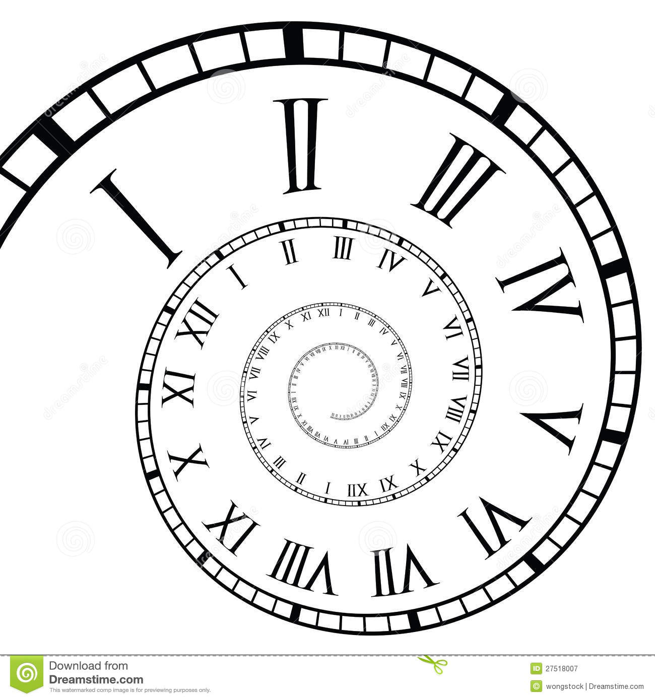 Spiral Roman Numeral Clock Time Line Stock Vector