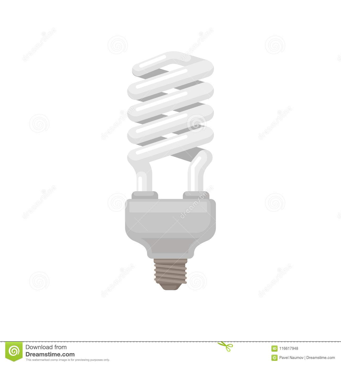Spiral-shaped compact fluorescent lamp. Energy-saving light bulb. Flat vector element for infographic, promo poster or