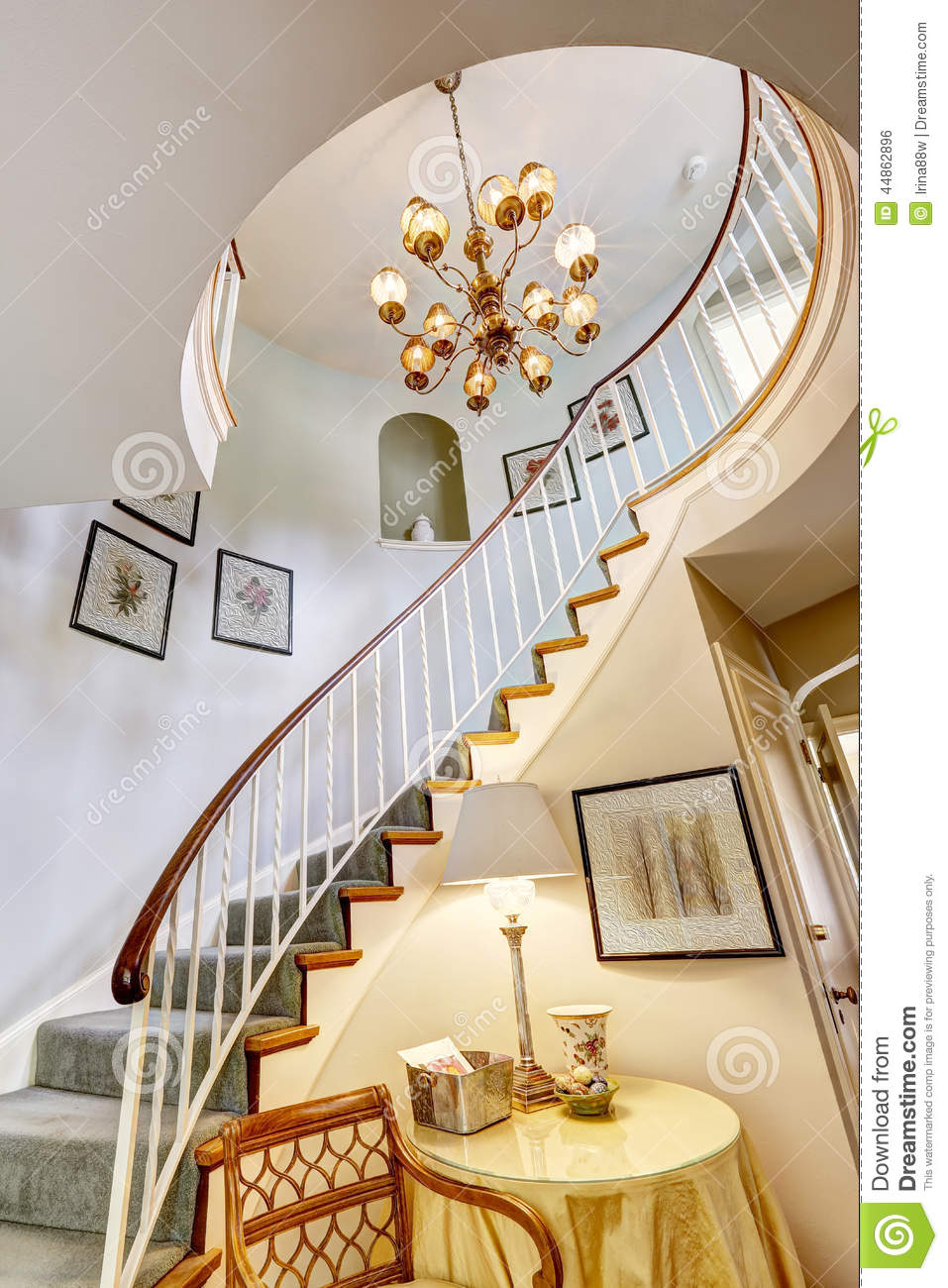 Royalty Free Stock Photo. Download Spiral Staircase In Luxury House ...