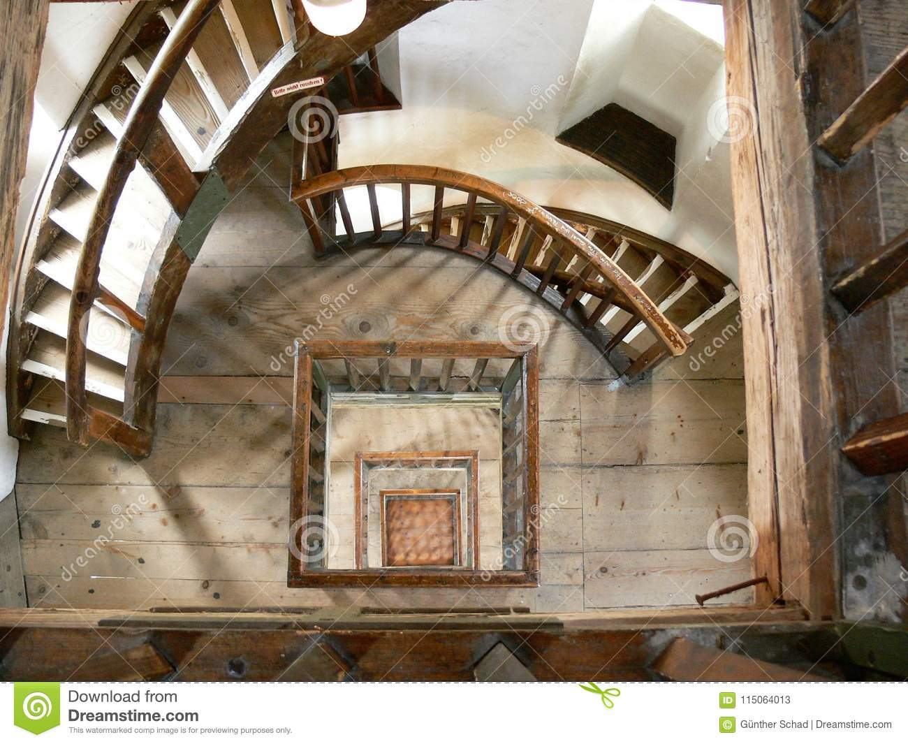 Interior Shot Of A Lighthouse, Round Staircase In The Tower, Medieval  Building From The Inside,