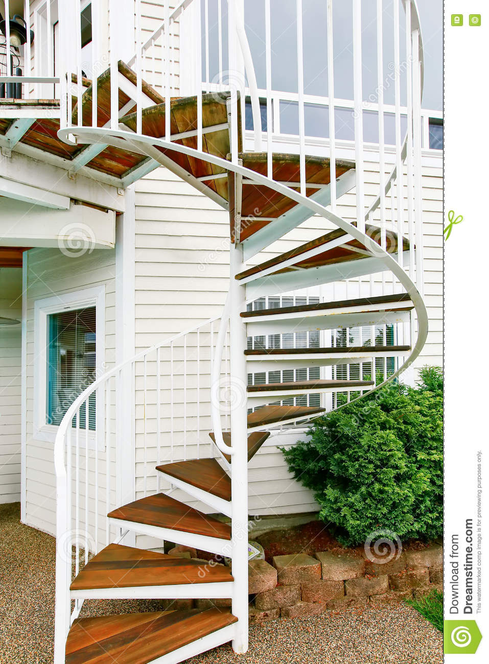 Spiral Staircase On The Outside The House Stock Image Image Of