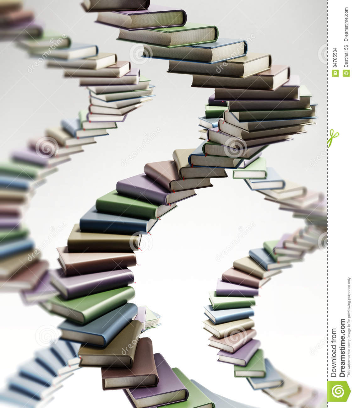 Spiral Staircase Shaped Multi Colored Books 3d Illustration Stock