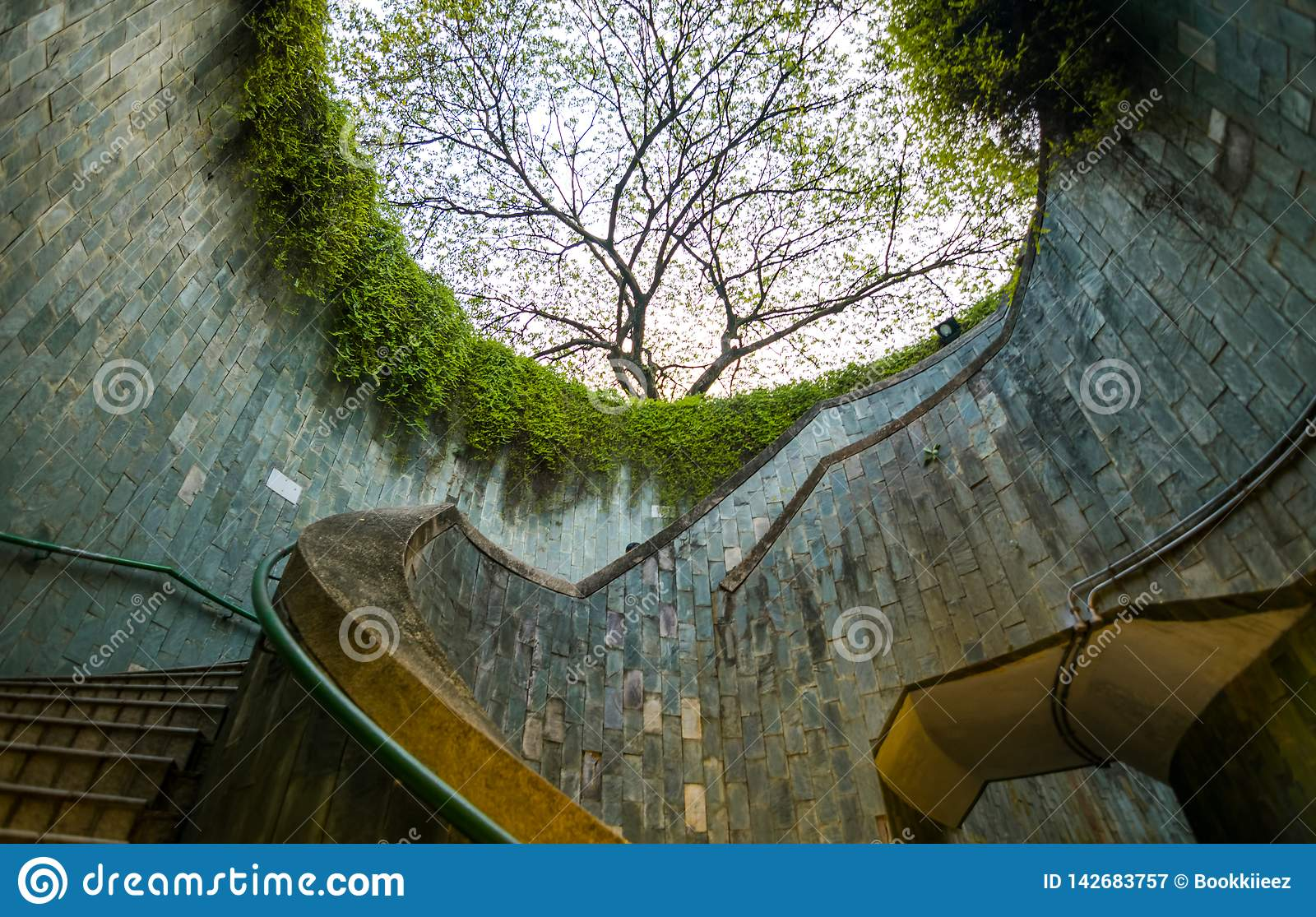 Spiral staircase of underground at Fort Canning Park, Singapore.