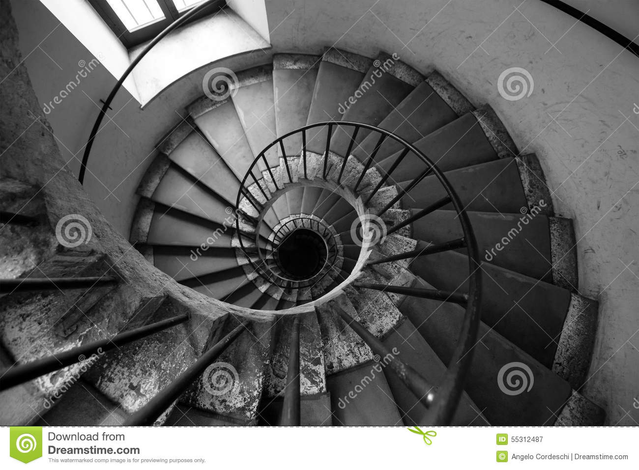 Download Spiral Stairs, Black And White. Architecture Old Italian Palace. Stock Image - Image of deep, dark: 55312487