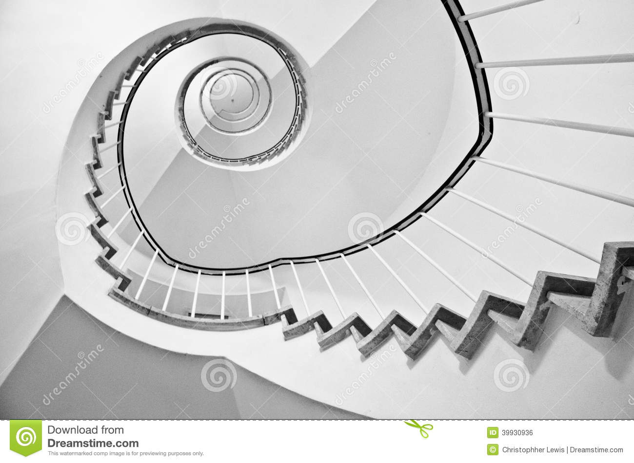 Spiral stairs black and white