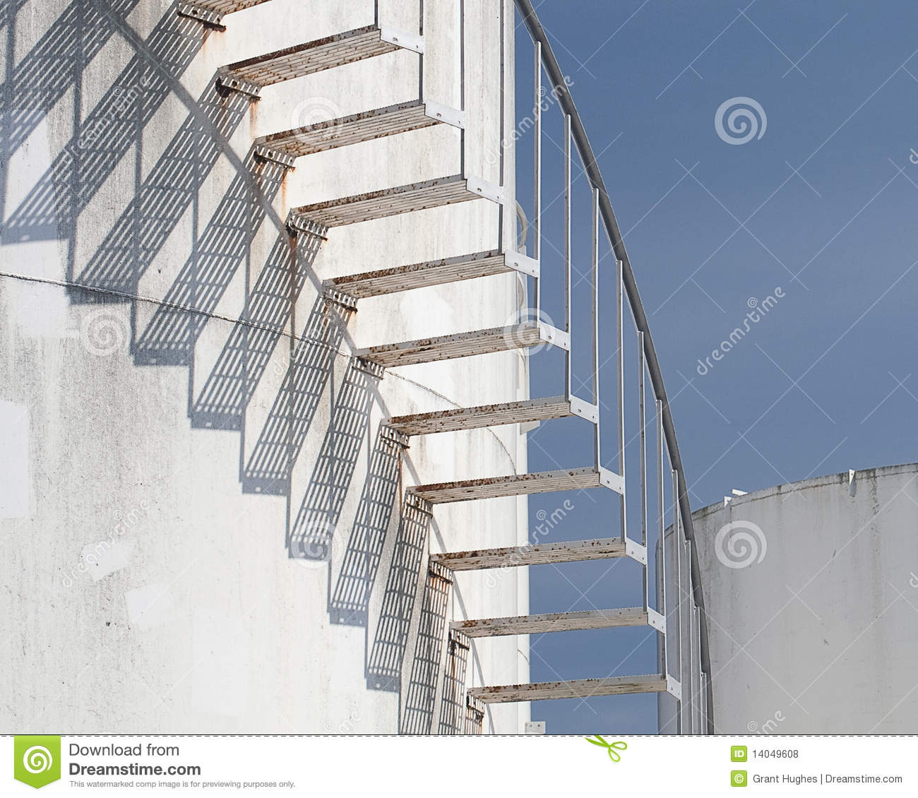 Stairs Storage Spiral Stairs At Fuel Tank Farm Royalty Free Stock Photos