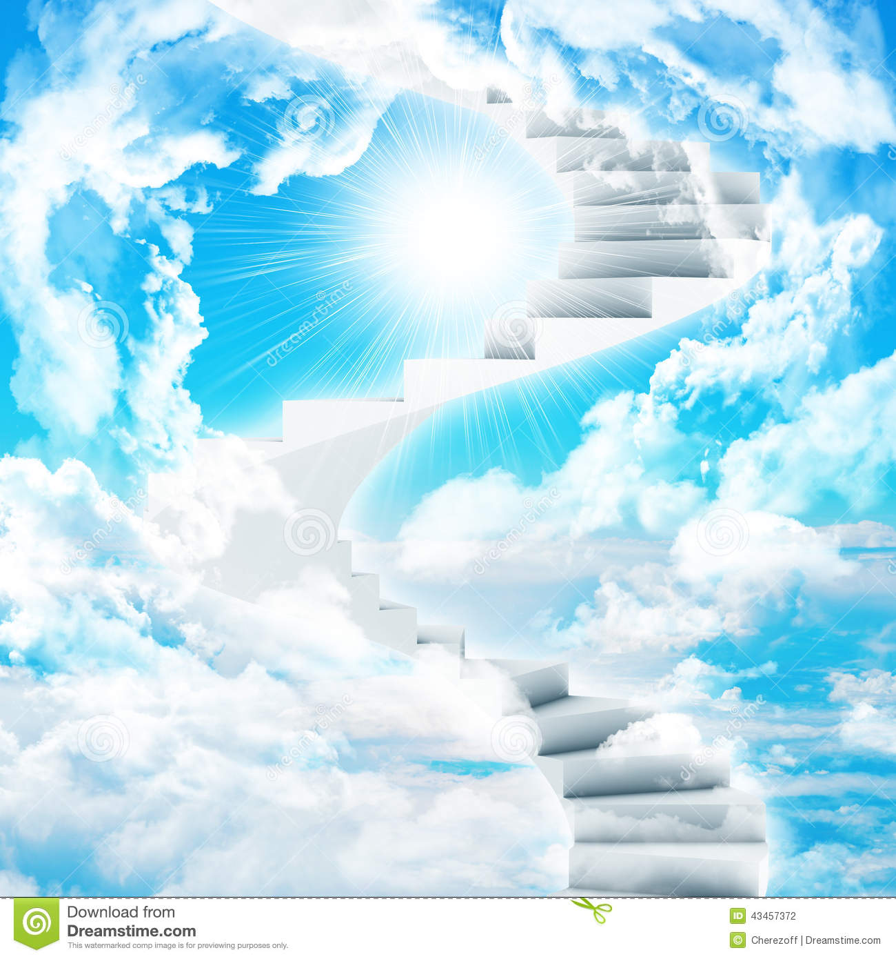 Spiral Stairs In Sky With Clouds And Sun. Concept Background Stock  Photography
