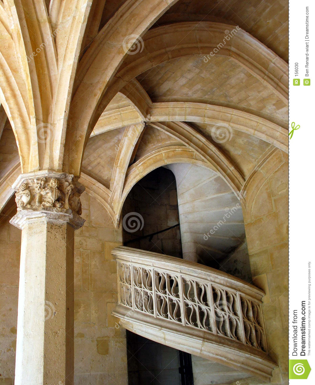 Spiral stone stairs. Cluny Museum. Paris. France.