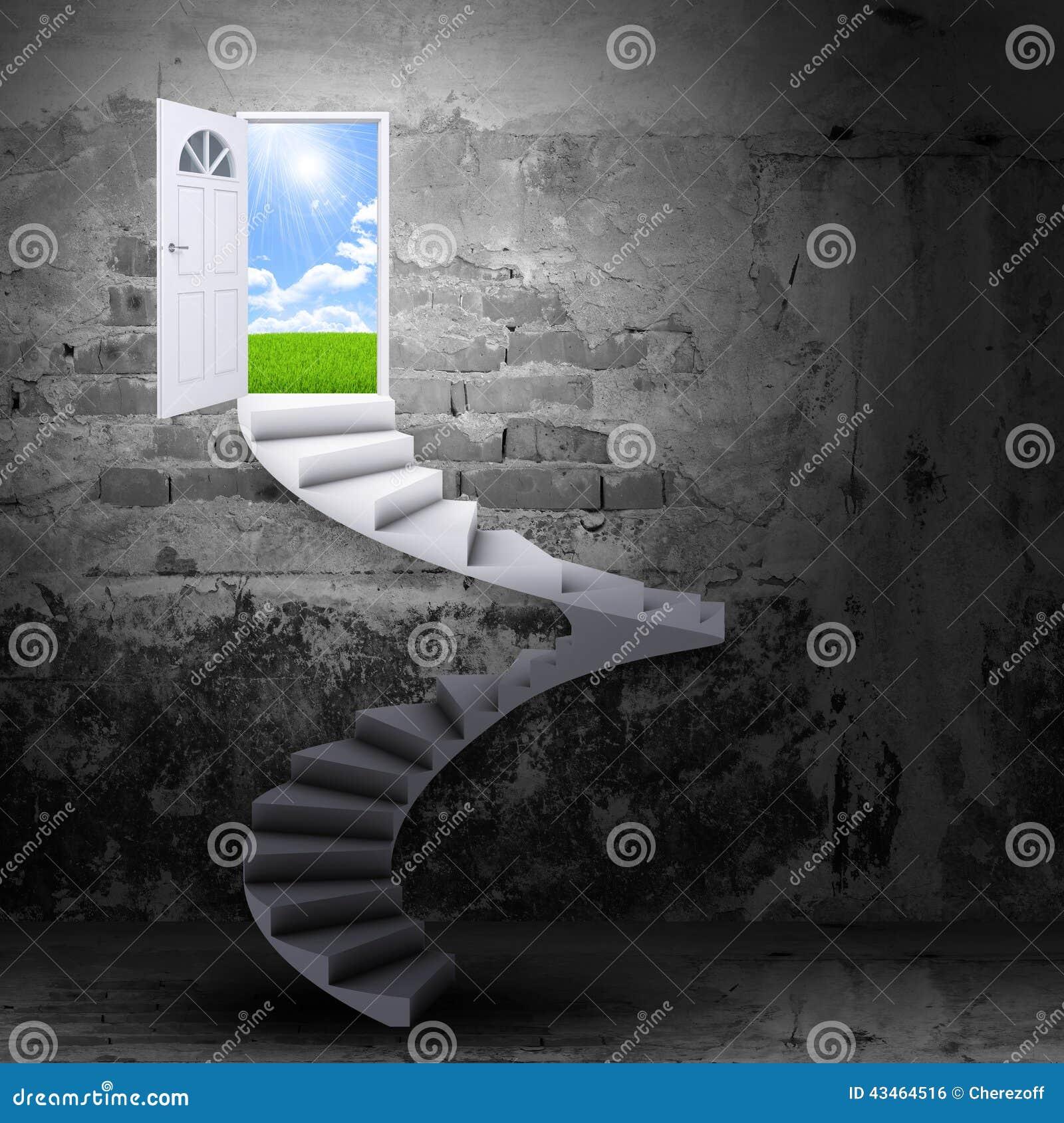 Spiral trappa och magiska dörrar stock illustrationer   bild: 43464516