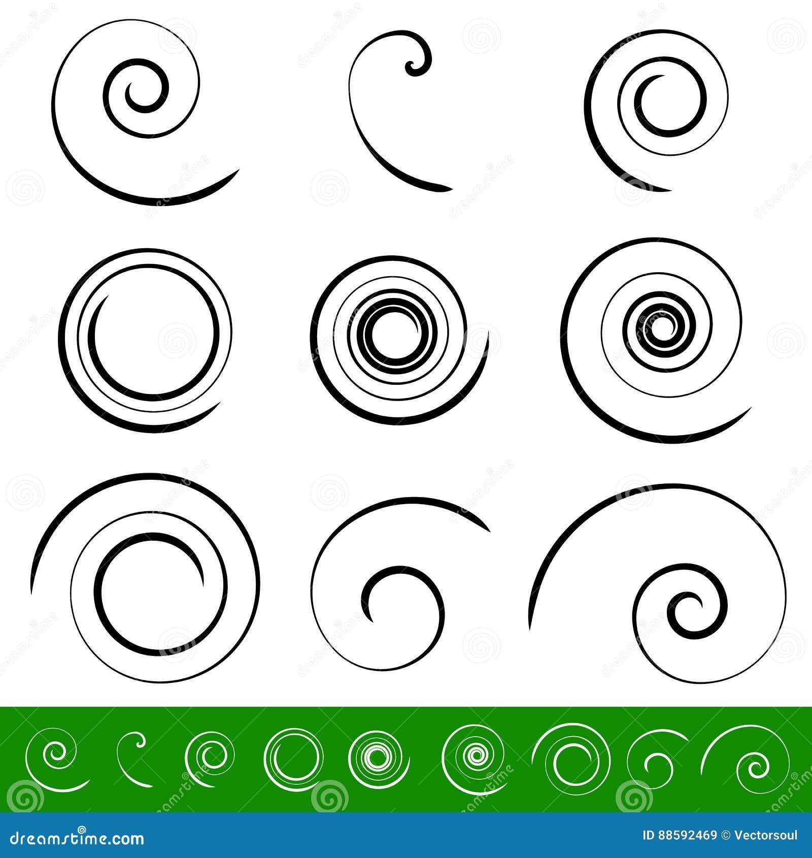 Spiral virvelbeståndsdeluppsättning 9 olika runda former spiral