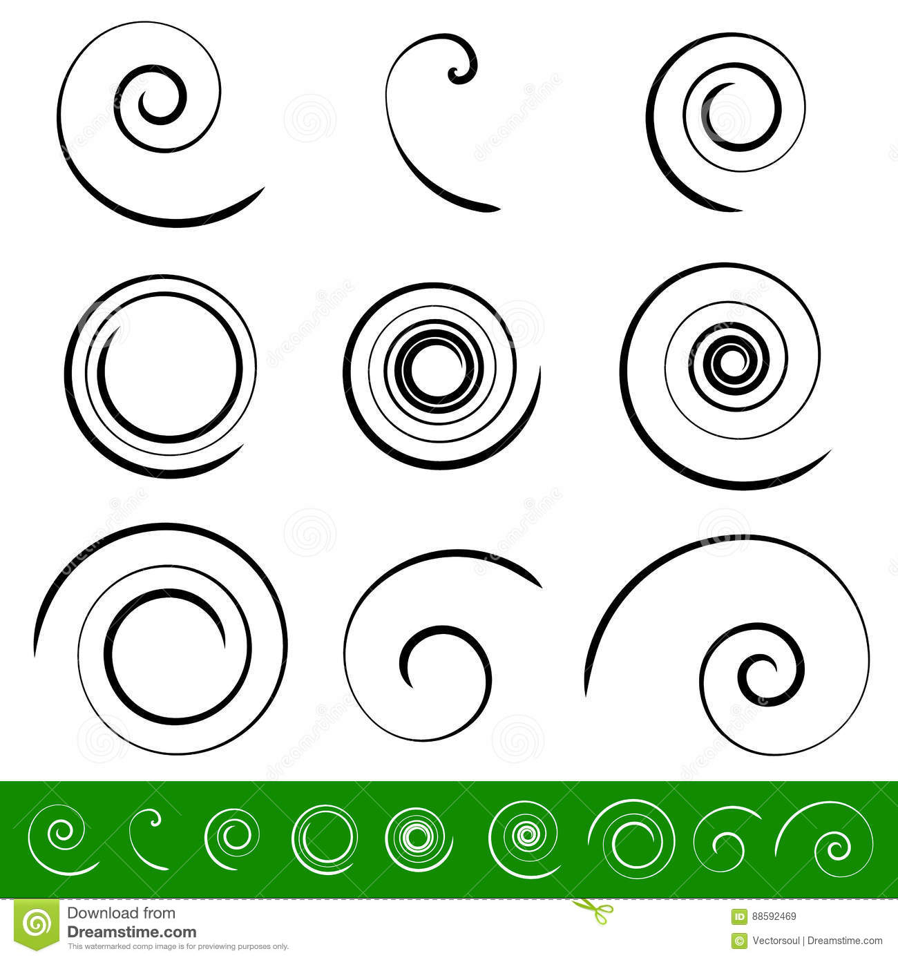 Spiral, vortex element set. 9 different circular shapes. Spiral