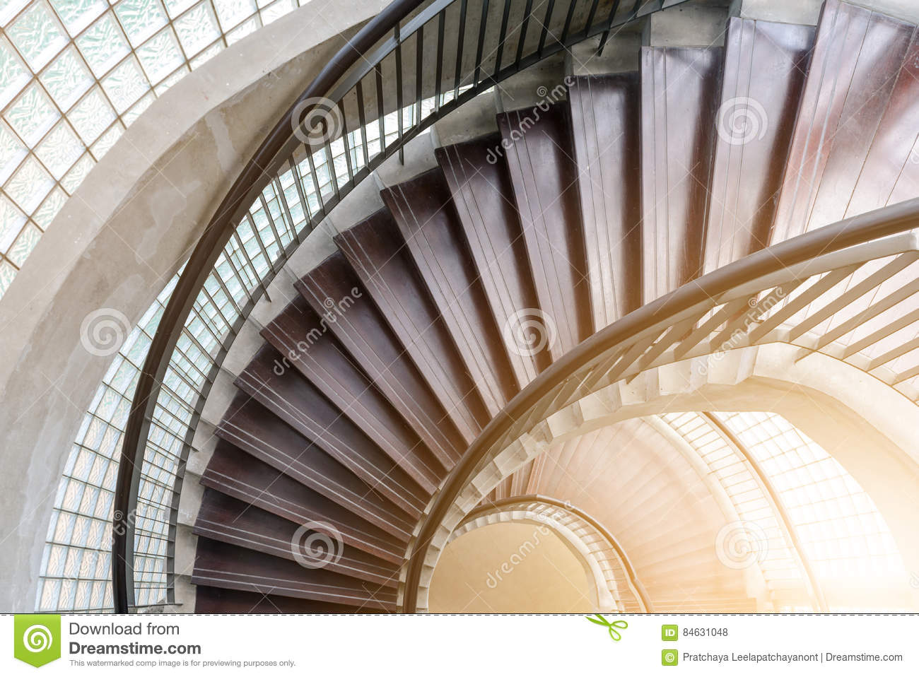 Download Spiral Wooden Staircase. Circular Staircase. Stock Photo   Image  Of Spiral, Downward