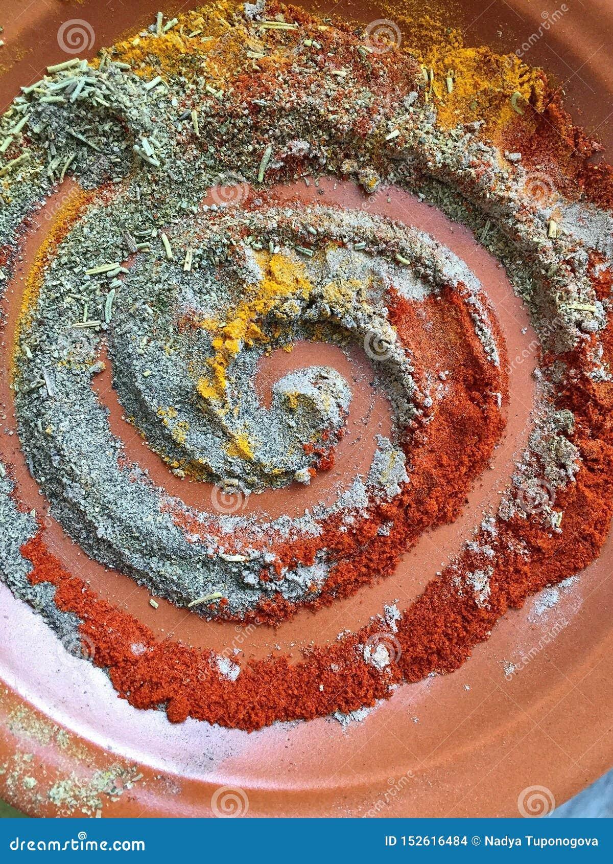 Spirala kryddor pepprar paprika för rosmarin för spiskumminkardemummagurkmeja