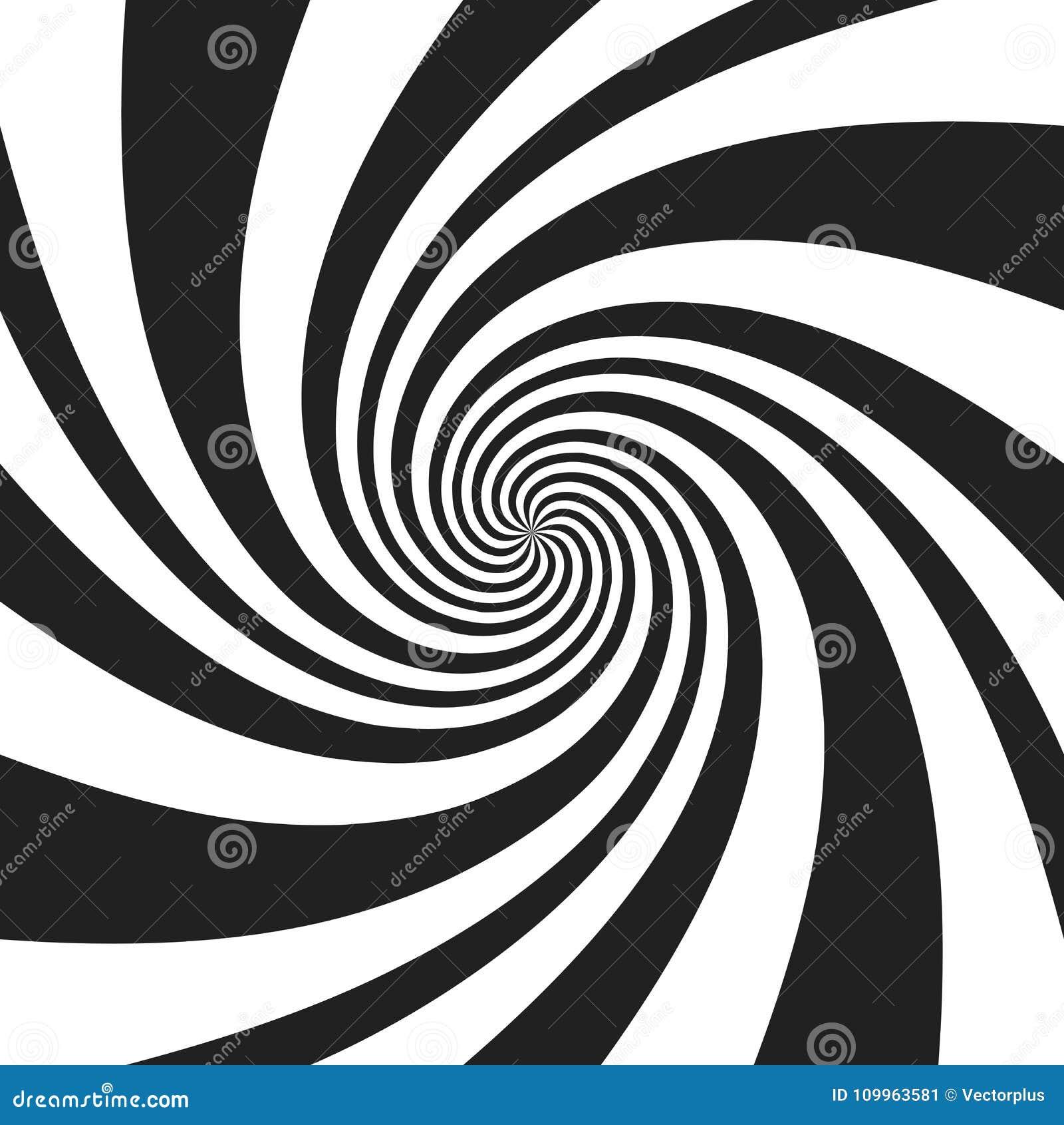 Spirale psychédélique avec les rayons gris radiaux Rétro fond tordu par remous Illustration comique de vecteur d effet