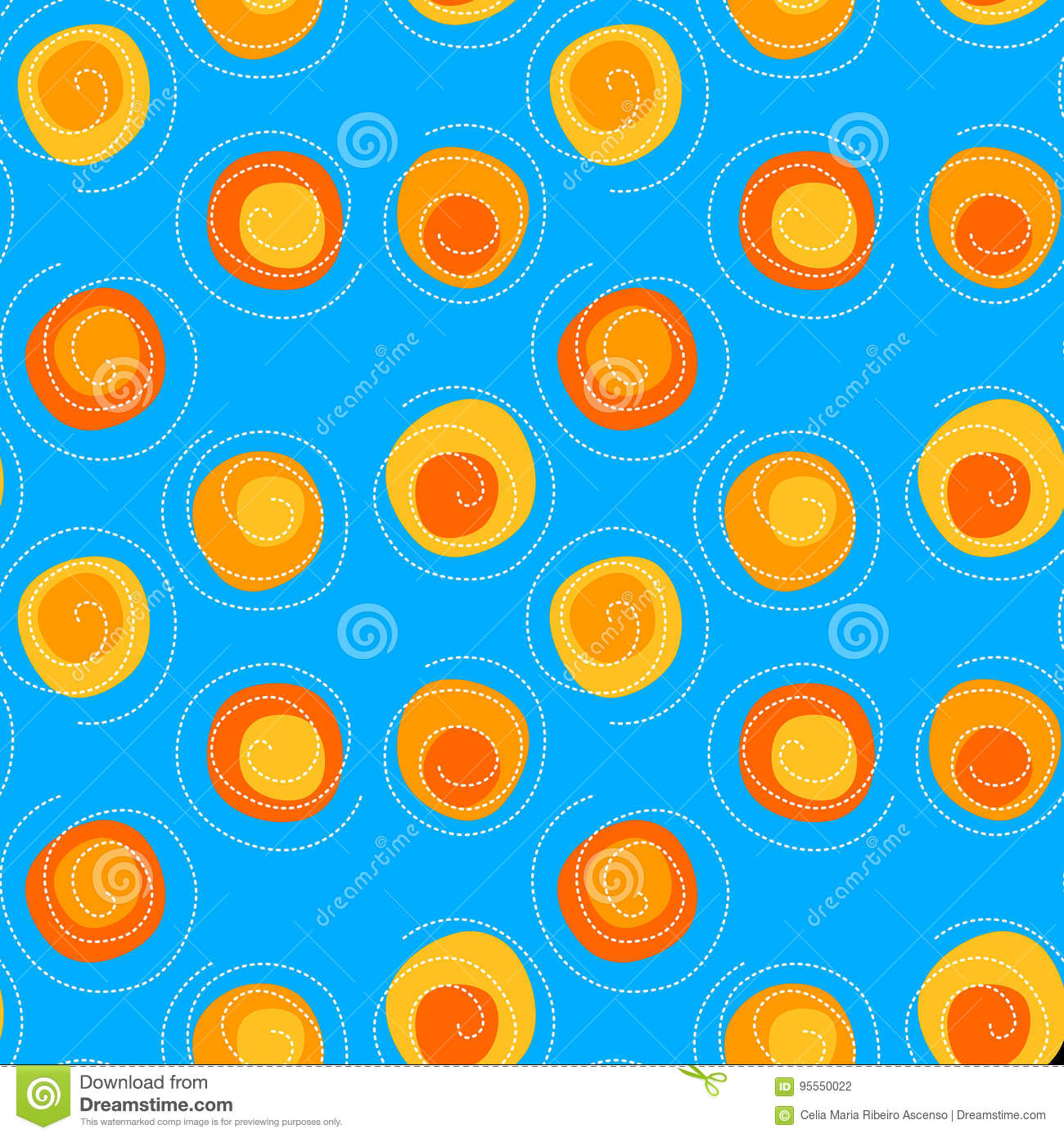 Spirals and Suns seamless pattern background