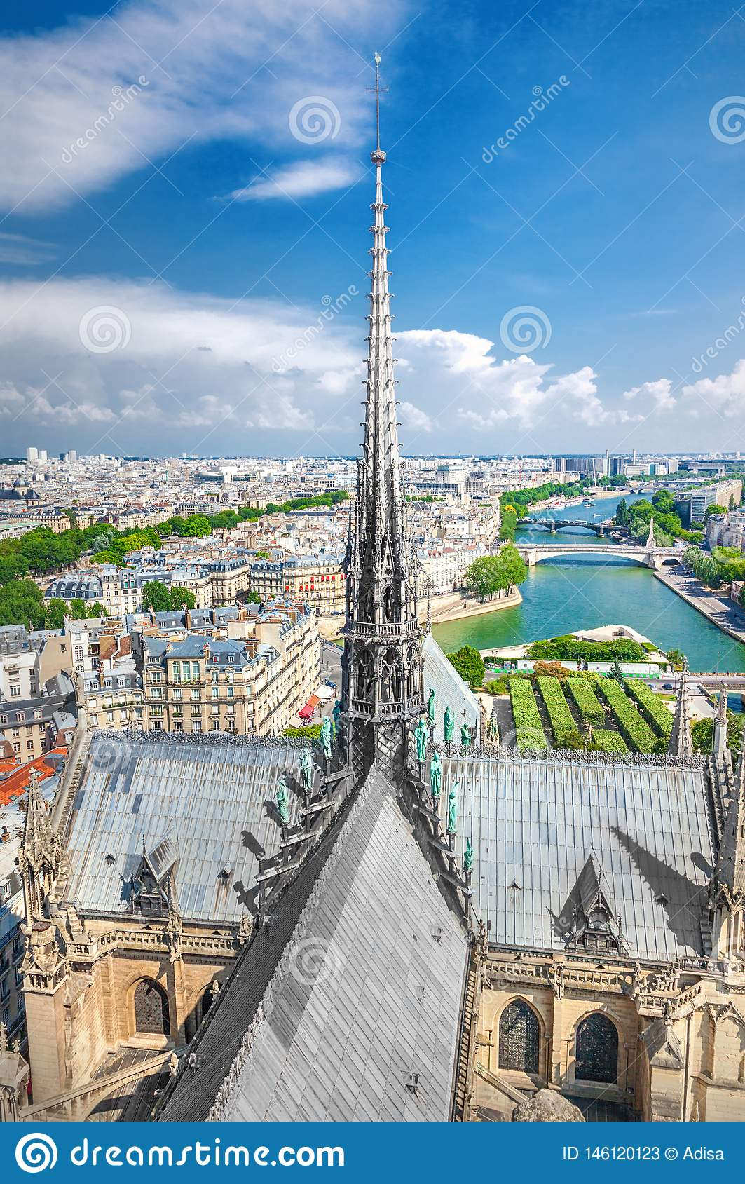 The spire of Notre Dame Cathedral