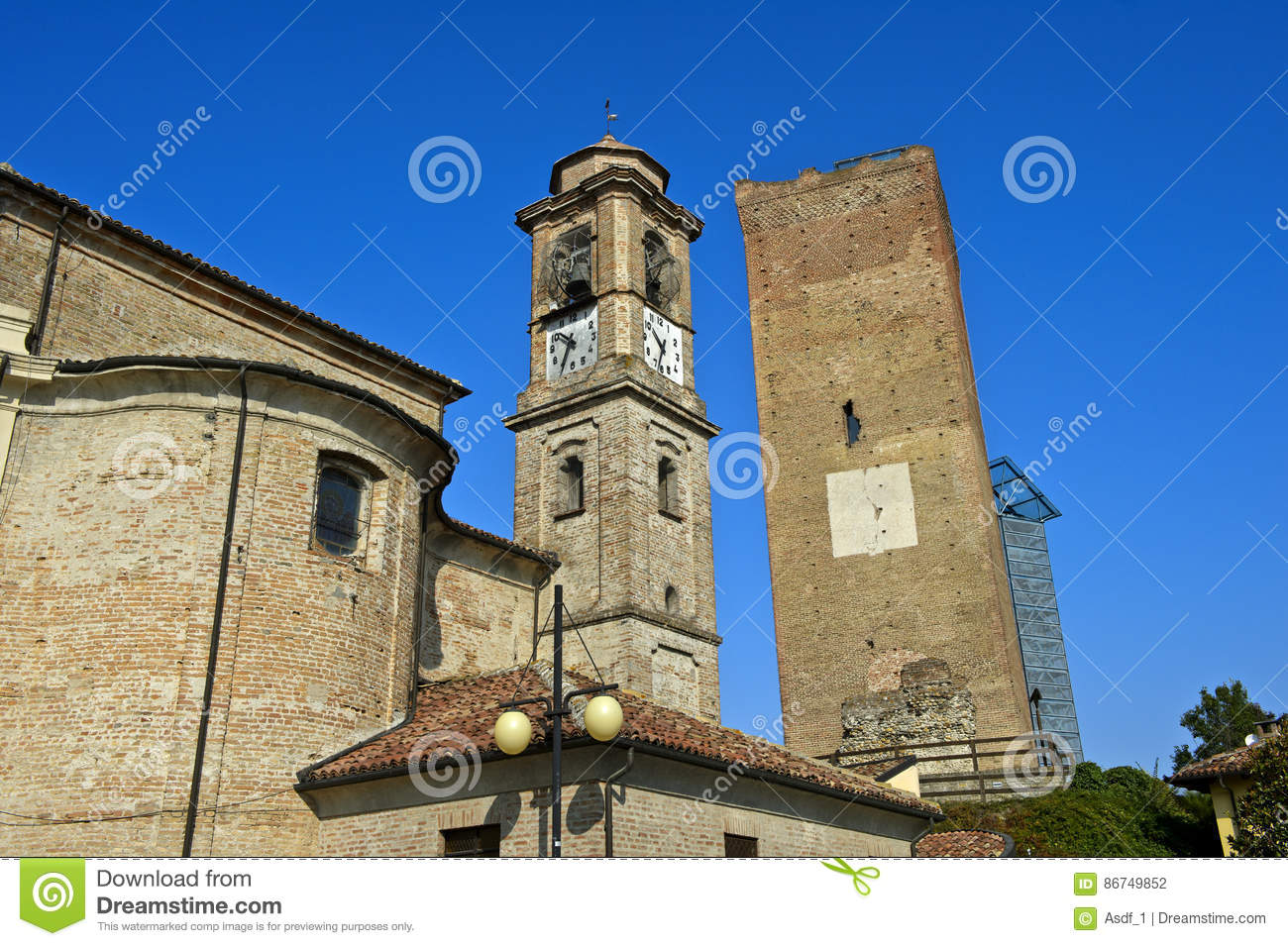 Spire of the San Giovanni Battista Church and the medieval watch tower, Barbaresco