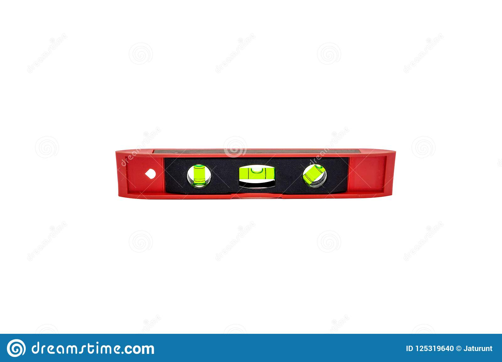 Spirit level with 3 vials on isolated white