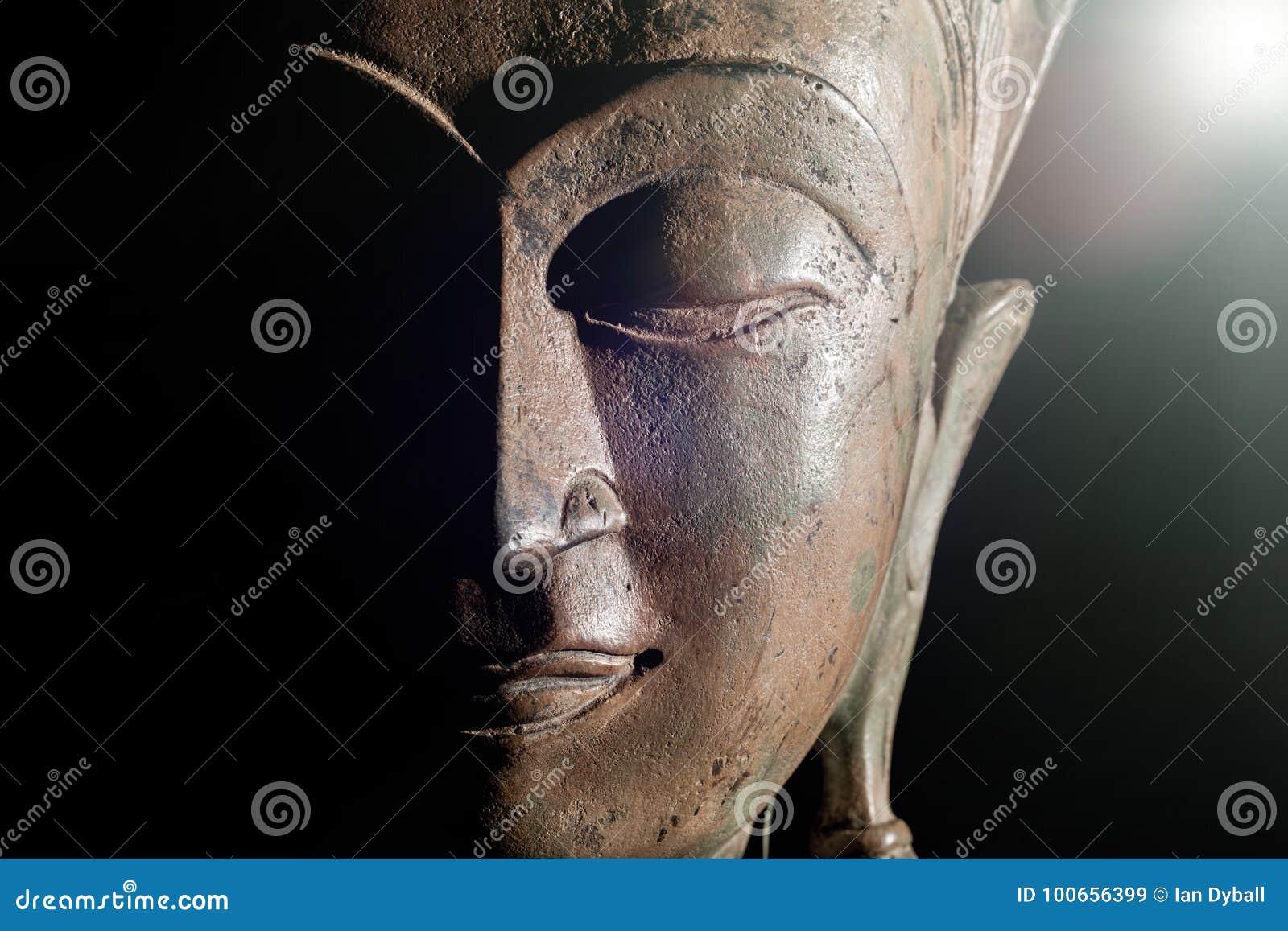 Spiritual Enlightenment  Buddha Head With Divine Light