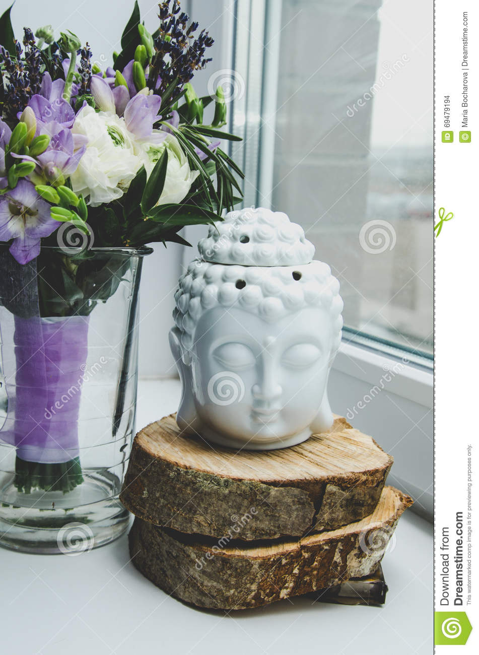Spiritual Ritual Meditation Face Of Buddha On White Background Rustic Spring Bouquet Flowers Buttercup Ranunculus Stock Photo Image Of Faith Budha 69479194