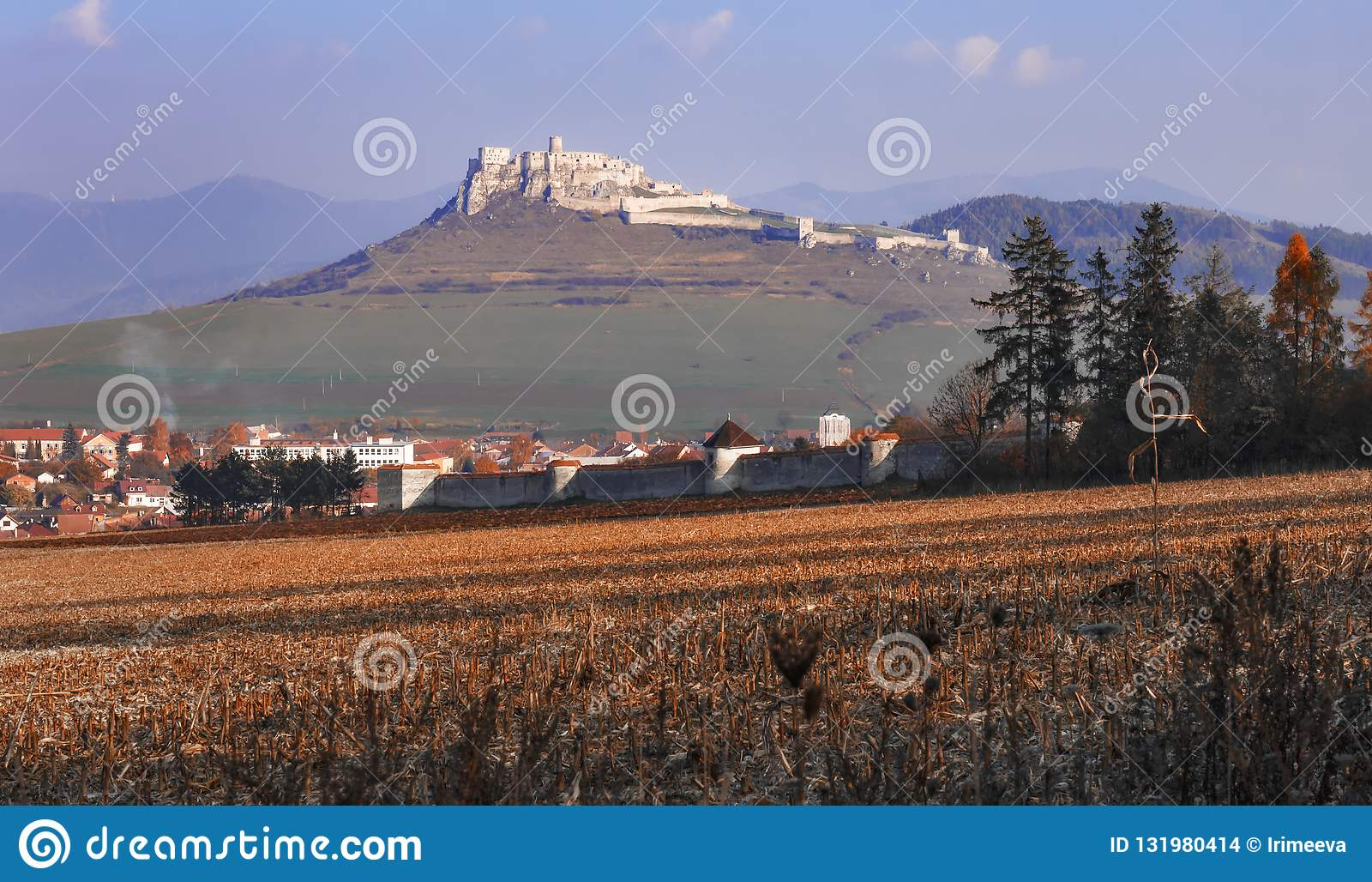 The ruins of Spis Castle in autumn - Slovak Republic