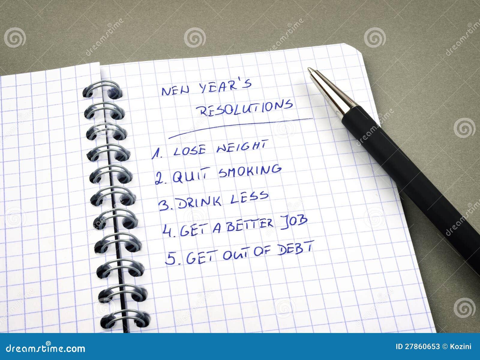 Spisujący nowy rok postanowienia