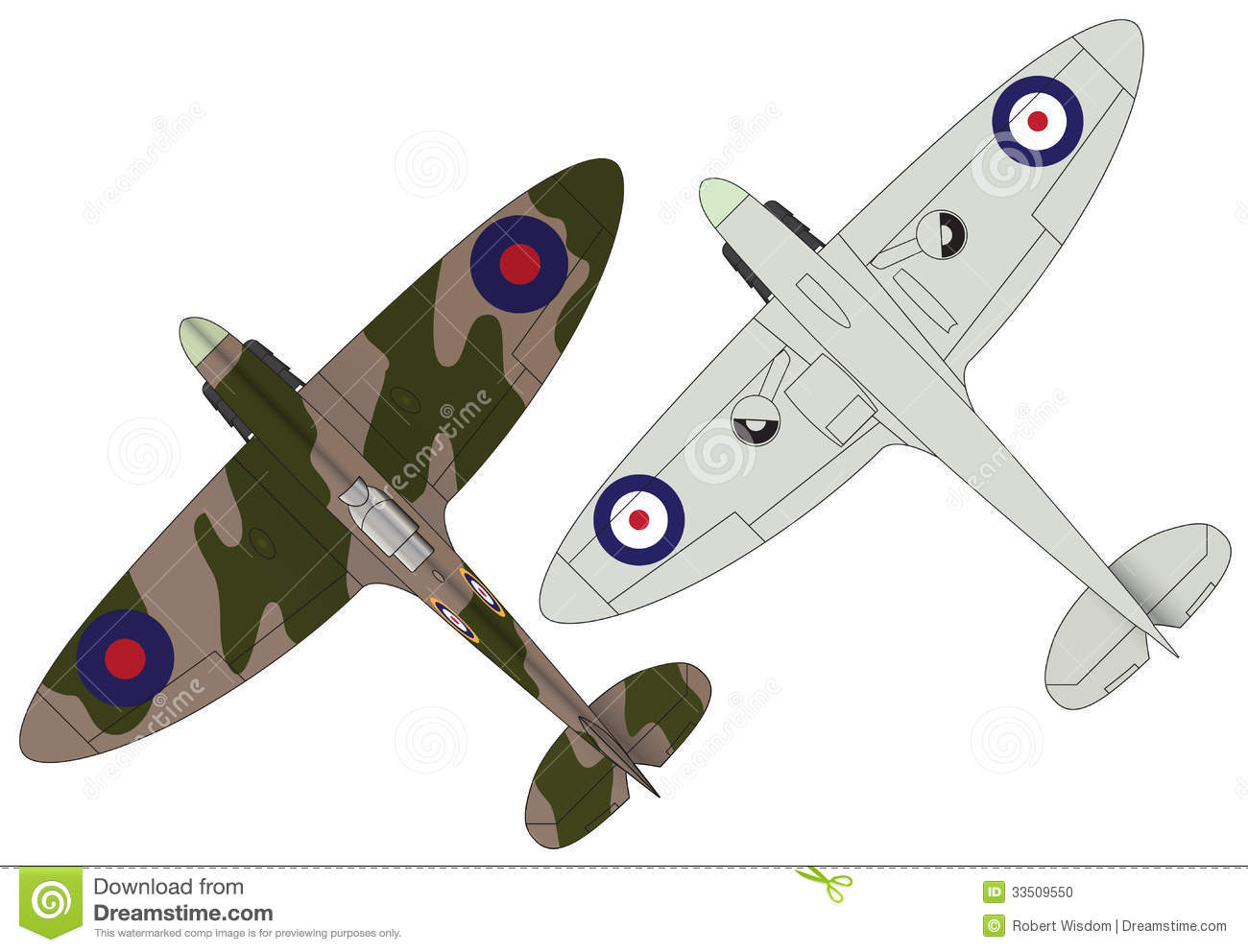 Two flat illustrations of wwii spitfire aircraft