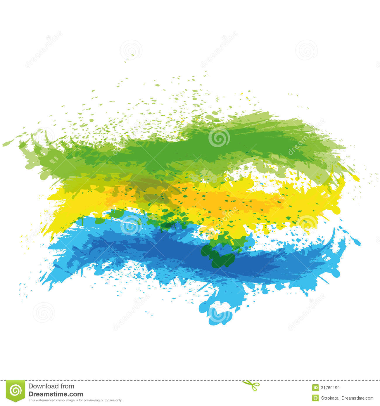 splash of green  yellow and blue paint on white ba royalty