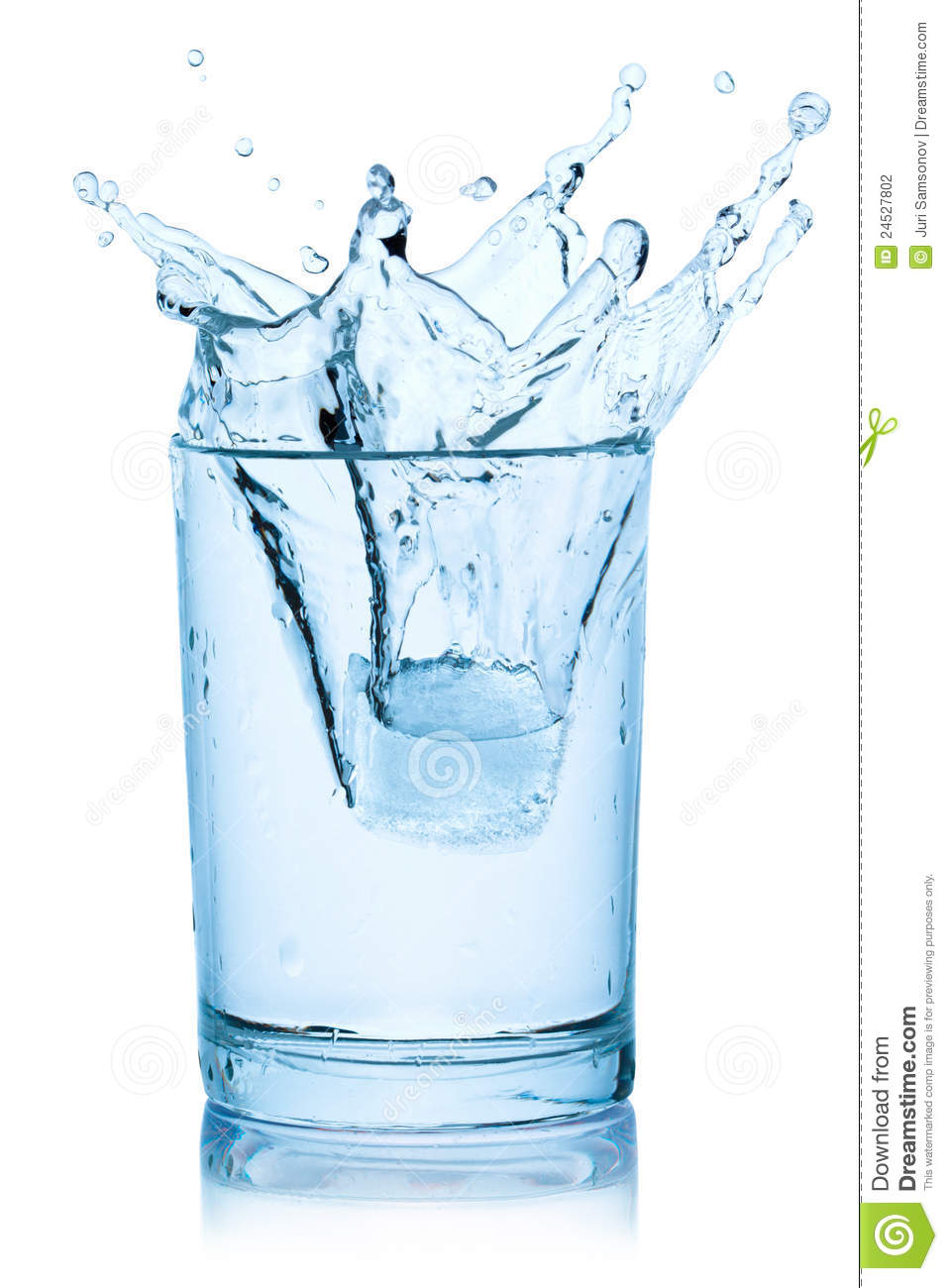 Splash From Ice Cube In A Glass Of Water. Stock Photography - Image ...