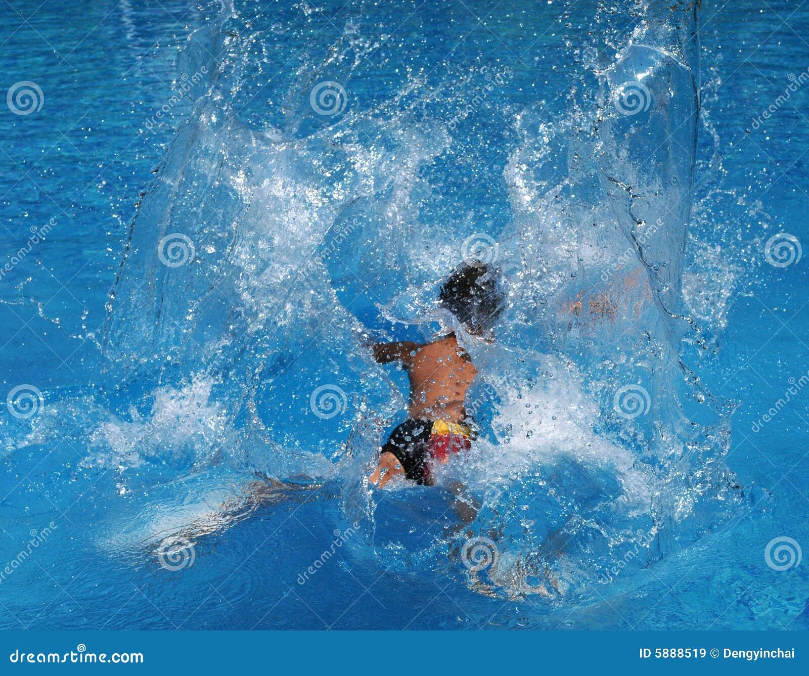 Pool Water Splash: Splash In The Swimming Pool Stock Image