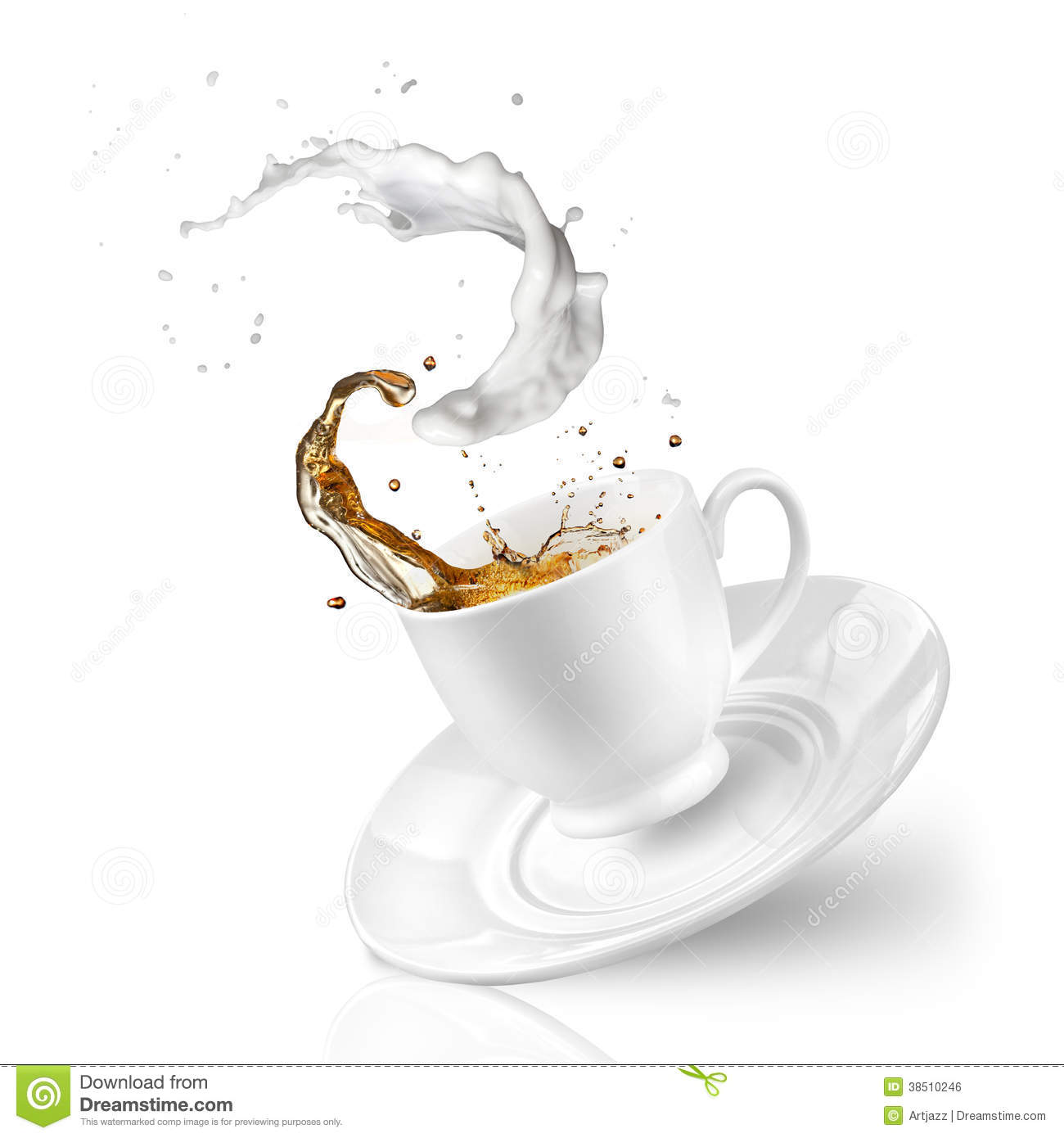 Splash Of Tea With Milk In The Falling Cup Isolated On White Royalty ...