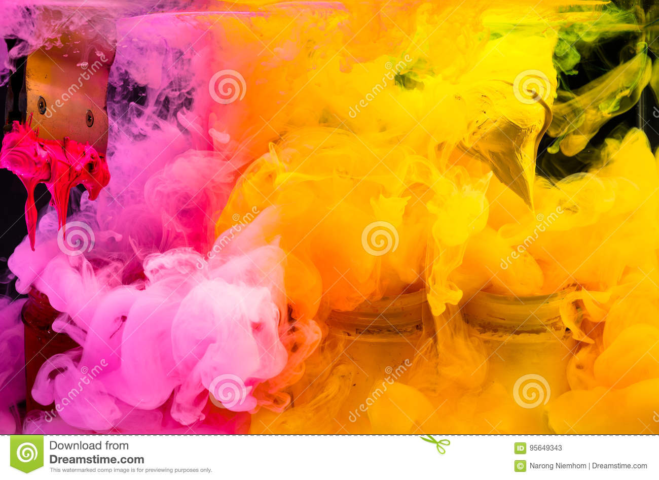 Place Orange Color Yellow And Red Of Plastisol Ink On Print Handle In To The Glass Water Box Then Splash Watercolor Into