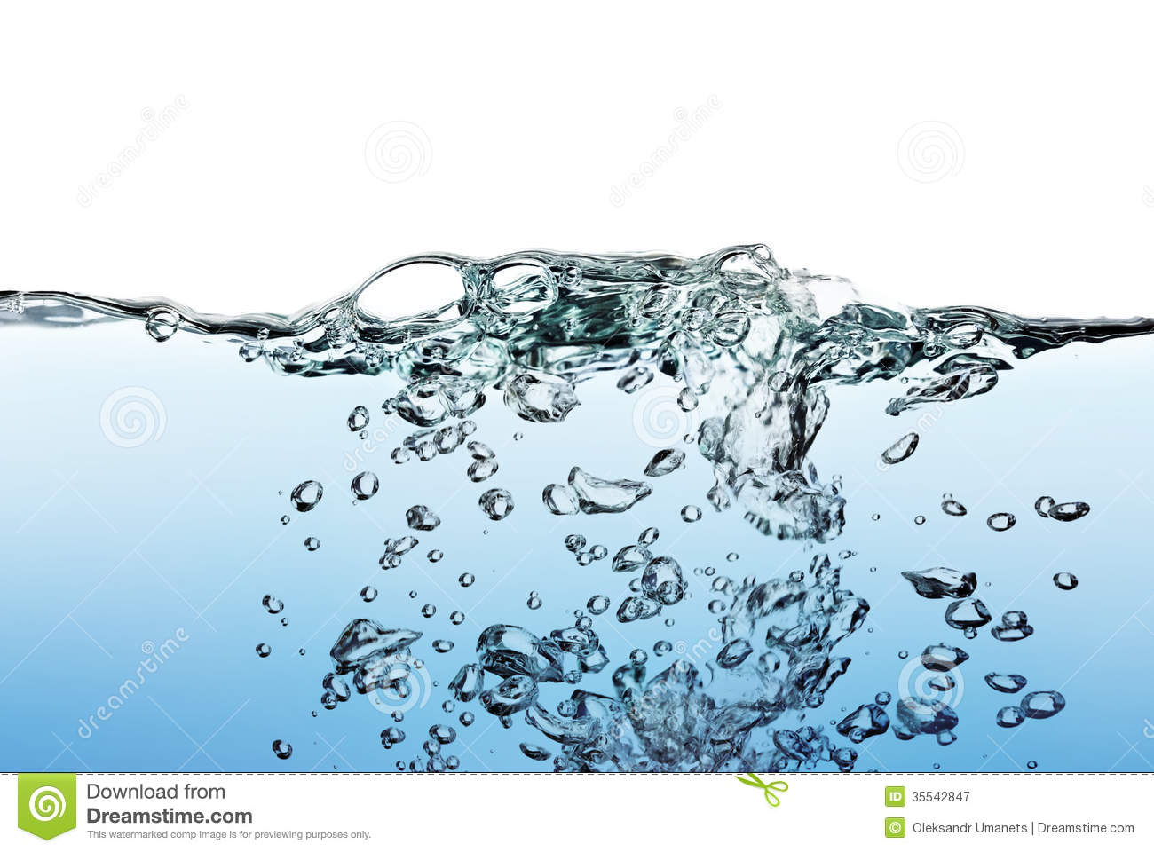 A Splash Of Water,drops And Bubbles On A White Background ...