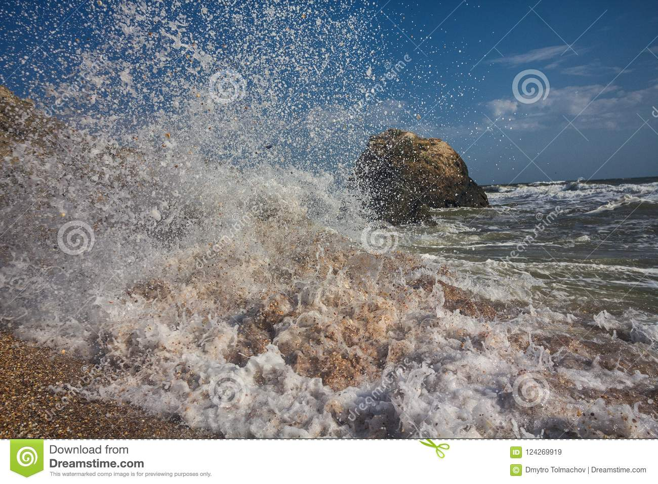 Splashes of waves beating against the shore