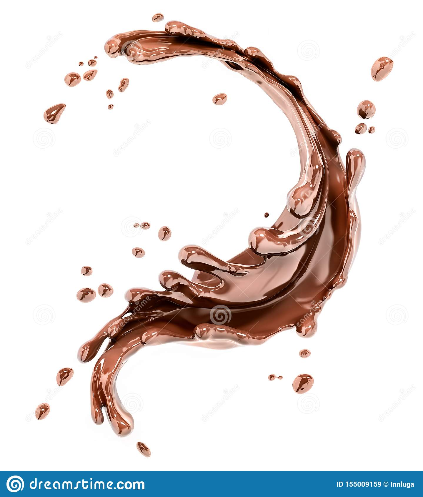 Splashing chocolate abstract background, 3d rendering