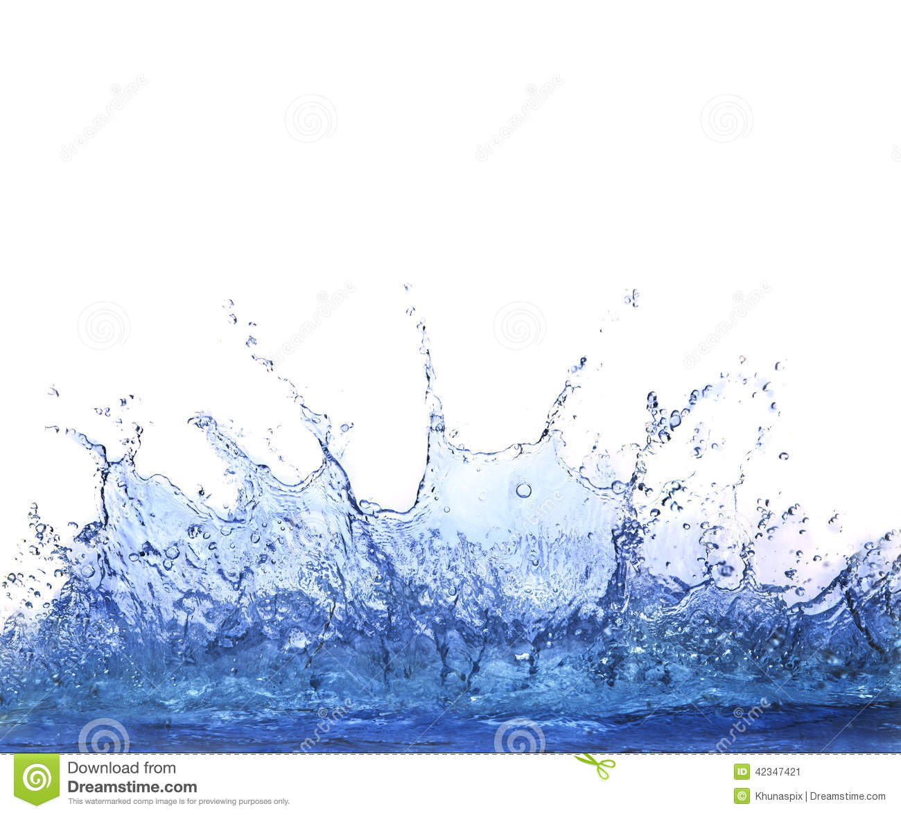 Splashing clear water on white background use for refreshment an