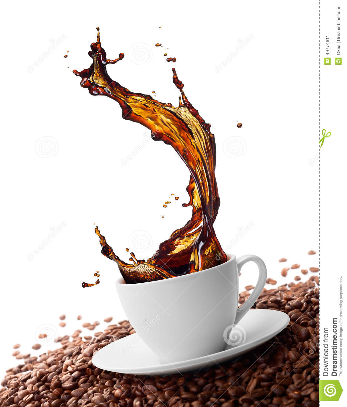 Cup of coffee with splash surrounded by coffee beans.