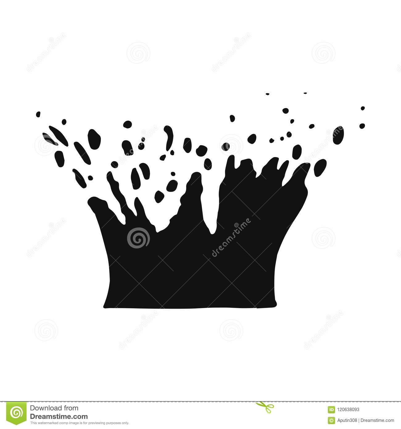 Splashing Water With Drops Vector Black Isolated ...