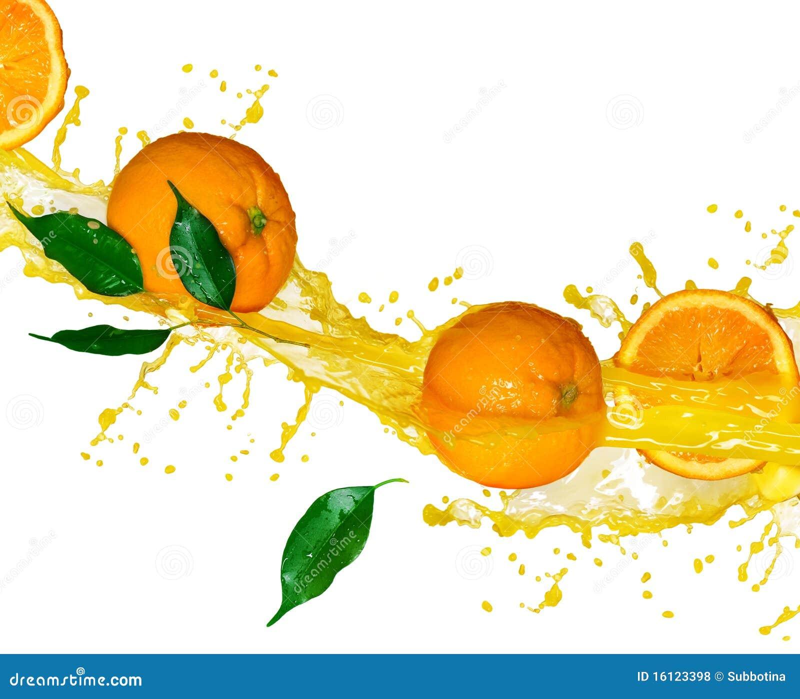 Splashng del zumo de naranja