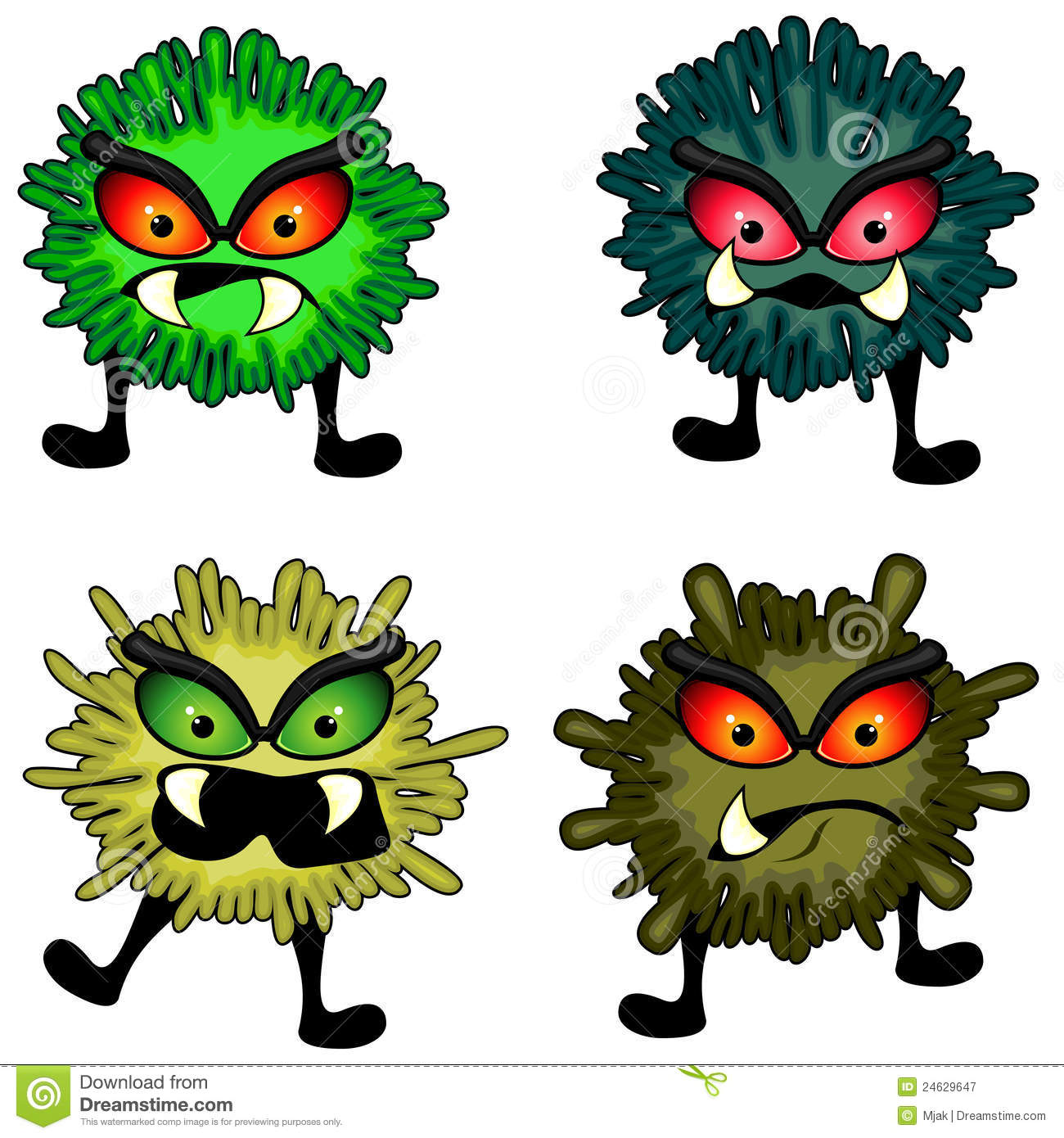 Set of four splashy round germs with aggressive faces