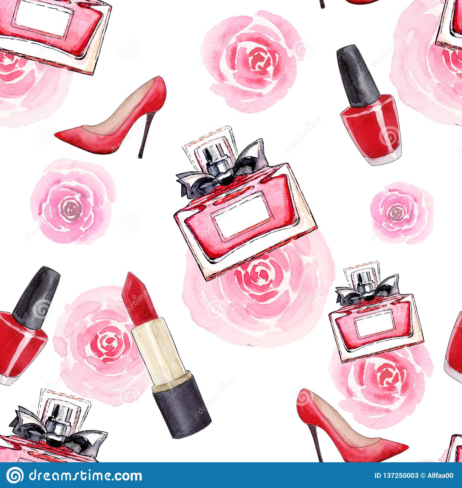 Splendorów akcesoria Moda Bezszwowy akwarela wzór z kobieta butami, pomadką, pachnidłem, kwiatami i gwoździa połyskiem, odosobnio