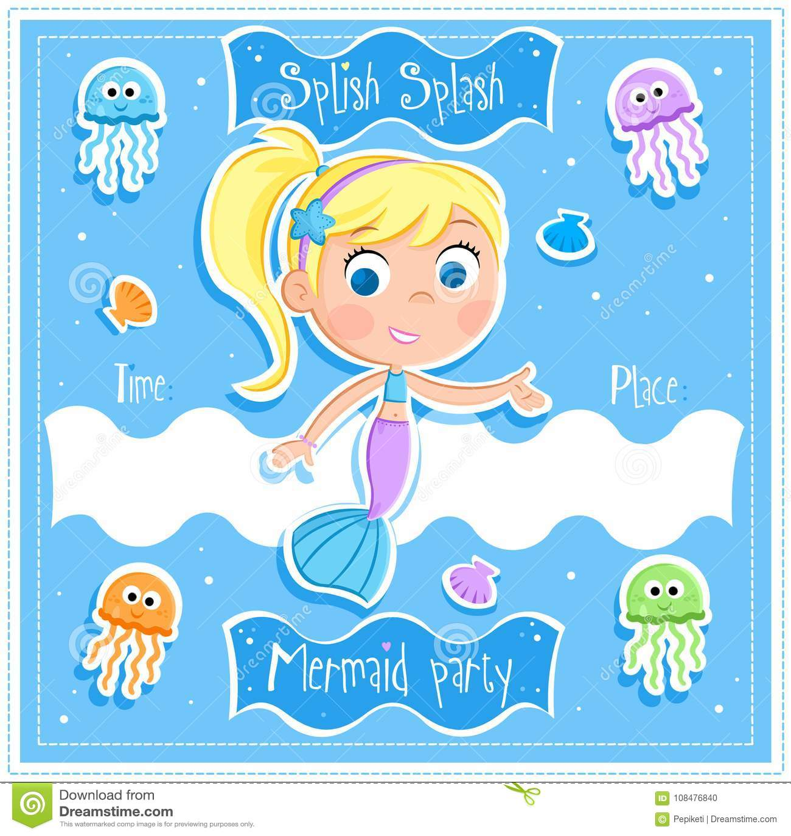 splish splash mermaid party invitation card stock illustration