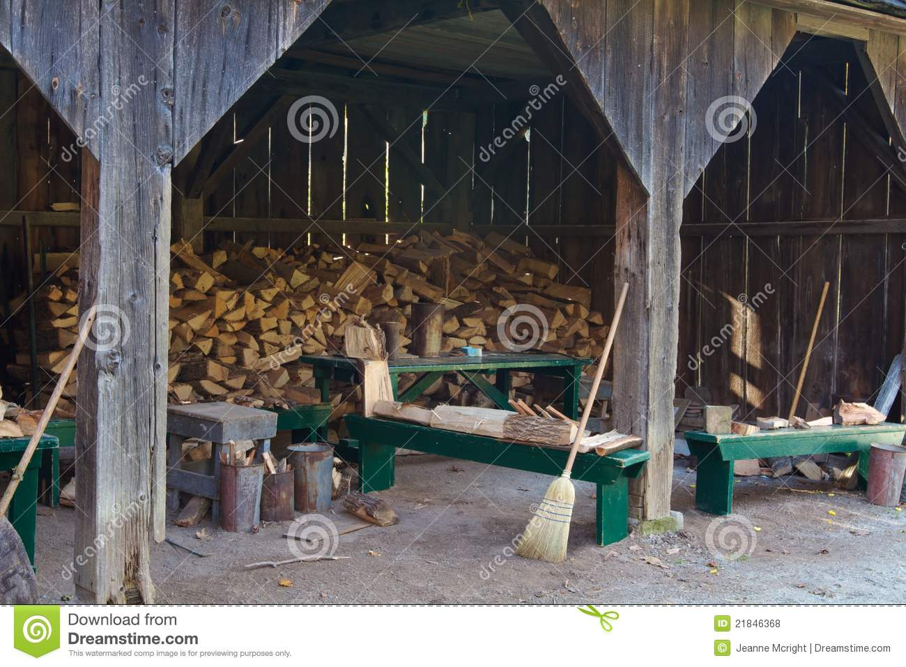 Split Firewood In An Old Wood Shed Stock Photo Image Of