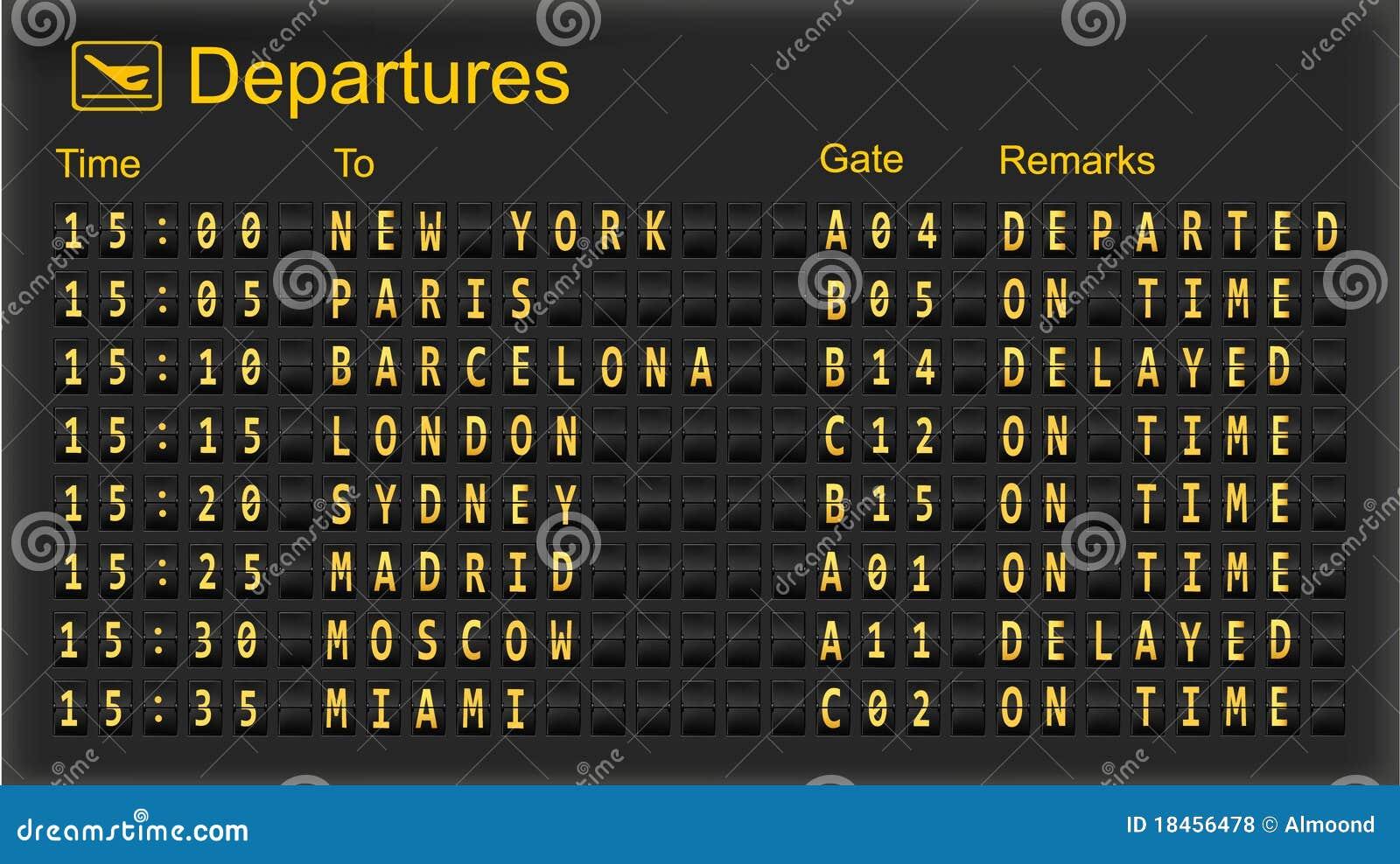Split flap mechanical departures board.